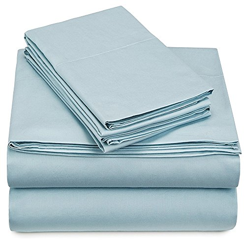 - Kural33 300 Thread Count Organic Cotton Bedsheet Set, GOTS Certified, Hotel Collection, Luxury Bedding, Queen (ICY Blue) by