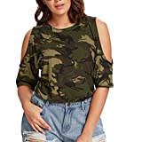 Sdoo Women Fashion Casual Round Neck Plus Size Camouflage Polyester Blouse (3X-Large)