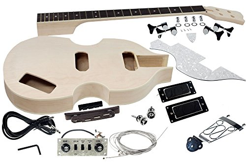 Solo Beatles Style DIY Bass Guitar Kit, Maple Body, Neck with Rosewood FB, VBK-1 (Solo Electric Bass)