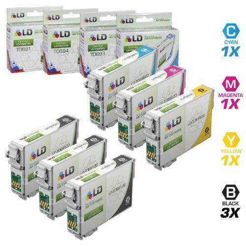 LD © Remanufactured Epson 69 / T069 Set of 6 Ink Cartridges: 3 Black, 1 Cyan, 1 Magenta, 1 Yellow for Stylus CX5000, CX7400, CX8400, NX105, NX300, NX400 & WorkForce 1100, 1300, 310, 315, 500, 600
