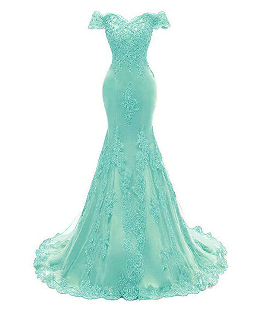 Light bluee Aiyue Yishen Women's Mermaid Strapless Applique Prom Dresses Short Sleeve Long Evening Dresses