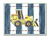 The Kids Room by Stupell Yellow Bulldozer on Blue Stripes Rectangle Wall Plaque