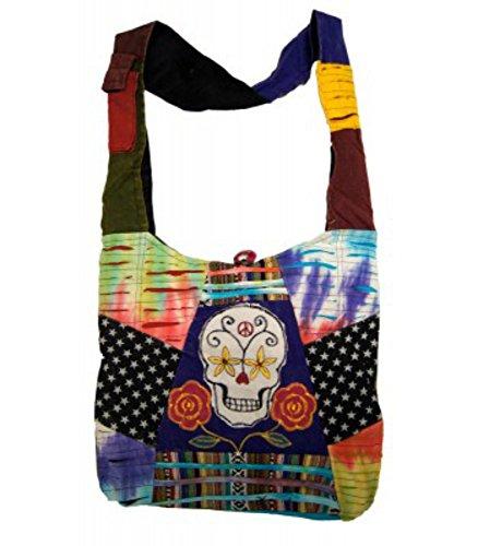 Sugar Skull Purse Cross Body Hobo Bag Handcrafted (Sugar Skull Hobo Bag) - Scarf Day Bag
