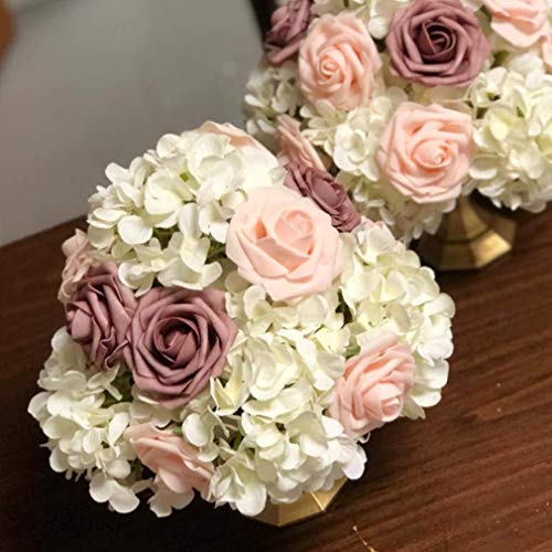 Artificial Flowers Blush Roses W/Stem, Rustic Farmhouse Decor for Home Wedding Kitchen and Office Ideal Bridal Shower Party Home Decorations 25pcs