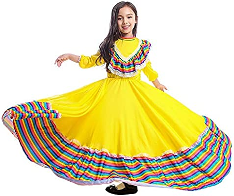 Girls Dress World National Mexican Style Costume for Carnival Festival Birthday Party Dress(L, Mexican Style): Buy Online at Best Price in KSA - Souq is now Amazon.sa