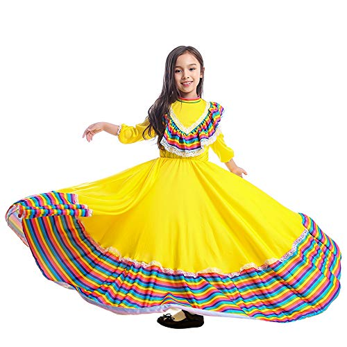 Girls Dress World National Style Costume for Carnival Festival Birthday Party Dress(M, Mexican Style)