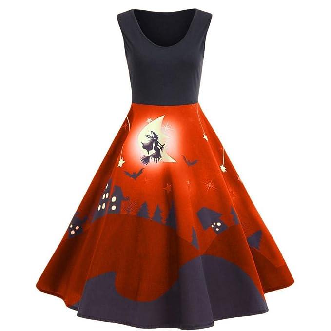 BaZhai de Halloween, Vestido Largo sin Mangas de Halloween con Estampado Vintage de Mujer del Falda de Mujer de Halloween con Estampado Fuera del Hombro ...