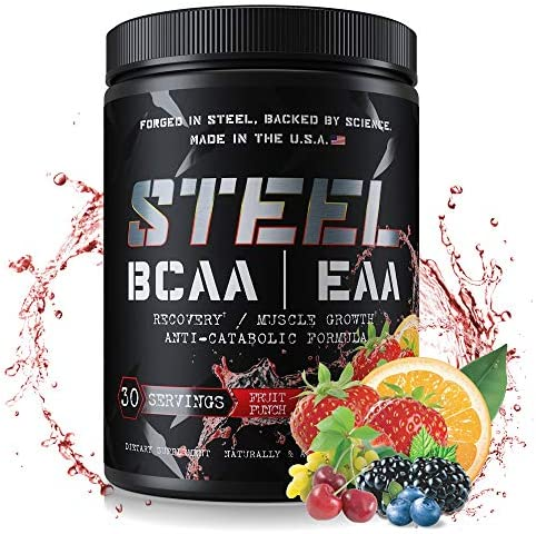 Steel Supplements Best BCAA EAA Powder High Performance Promotes Lean Muscle Growth 1lb Fruit Punch