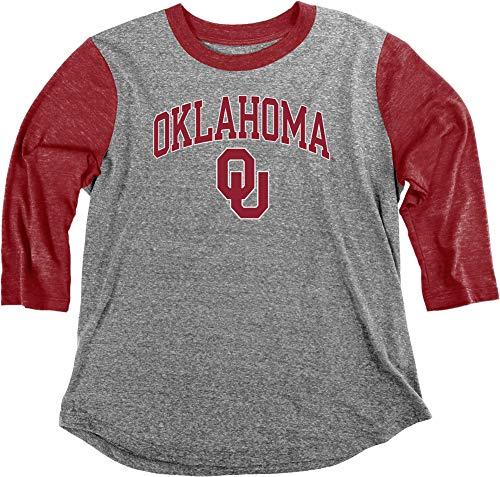 Elite Fan Shop Oklahoma Sooners Womens 3/4th Sleeve Tshirt - M - Charcoal (T-shirt Oklahoma Ladies)