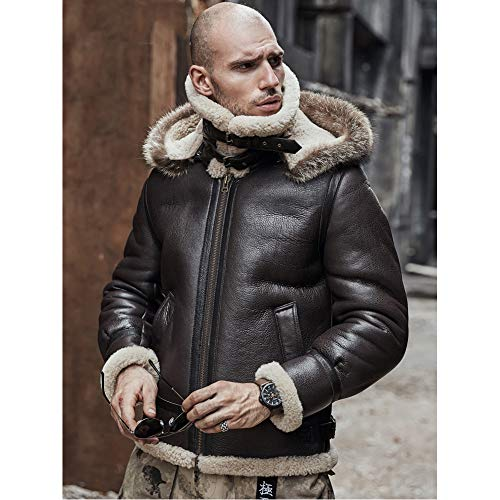 Men's Sheepskin Shearling Jacket Detachable Hooded B3 Flight Jacket Raccoon Fur Collar Aviator Coat