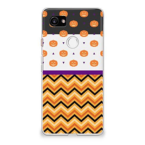 CasesByLorraine Google Pixel 2 XL (2017) Case, Halloween Pumpkins Chevron Pattern Clear Transparent Case Flexible TPU Soft Gel Protective Cover for Google Pixel 2 XL (A101) -