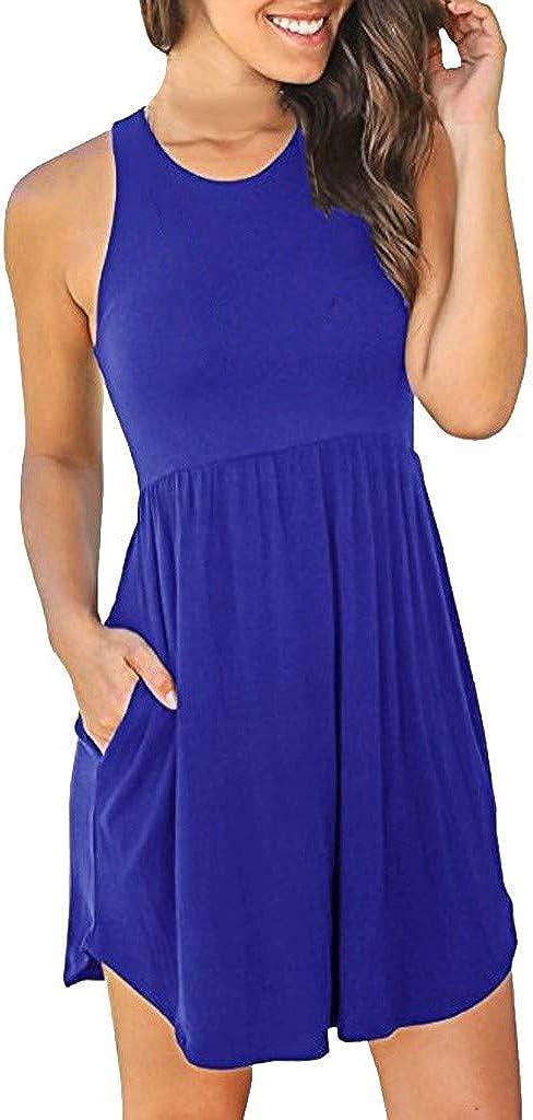 VEMOW Vestido de Mujer Faldas Casual sin Mangas con Cuello en V de Color sólido Lrregular Flojo Ocasional de Las Mujeres Faldas