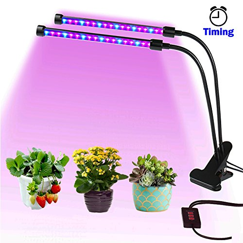 Cheap LED Grow Light for Indoor Plants Growing Light Fixture with Timing and Dimming Function Dimmable Dual Head Light Bulbs with Gooseneck for Indoor Gardening Plants Hydroponics