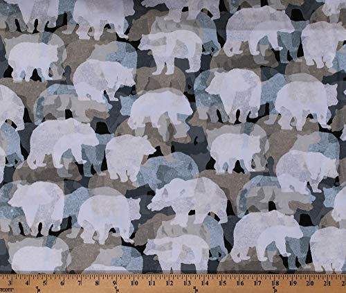 Cotton Bears Silhouettes Woodland Animals Wildlife Northwoods Camping Bear Collage Into The Woods II Cotton Fabric Print by The Yard (D672.71)