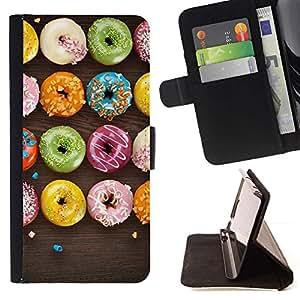 For HTC One M9 Case , Dulces Negro colorido- la tarjeta de Crédito Slots PU Funda de cuero Monedero caso cubierta de piel