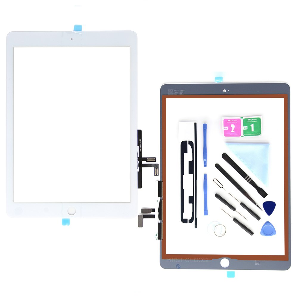 First Choose White Digitizer For iPad 9.7 (A1822, A1823)/Ipad 5 Ipad Air 1st Touch Screen Digitizer - Front Glass Replacement with Tool Repair Kits+Adhesive