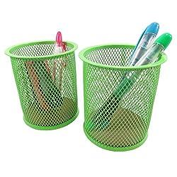 Mesh Wire Pen Pencil Holder Round 3 7/8 x 3 1/2 Neon Green (Set of 2)