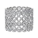 EVER FAITH Art Deco Love Knot Wide Stretch Bridal Bracelet Clear Austrian Crystal Silver-Tone