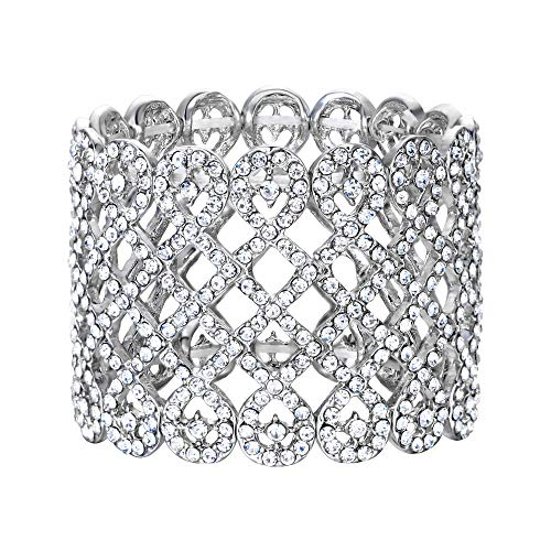 EVER FAITH Art Deco Love Knot Wide Stretch Bridal Bracelet Clear Austrian Crystal SilverTone