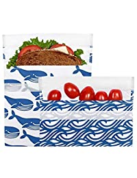 Lunchskins - Juego de 2 bolsas de velcro reutilizables, Paquete de 2, Azul ballena, Azul, 1