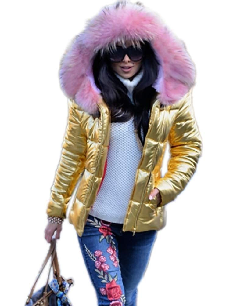 Aox Frauen Daunenjacke Mit Kapuze Warme Kunstpelz Verdicken Leichte Puffer Mantel Mode Outdoor Ski Parka Anorak