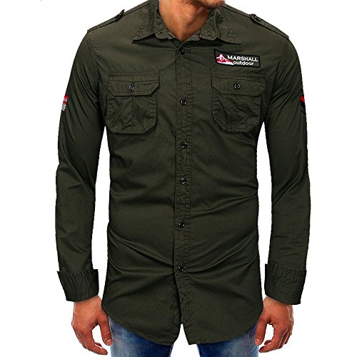Realdo Mens Button Down T-Shirt, Casual Fashion Long Sleeve Solid Turtleneck Splice with Pocket Tops(Army Green,XX-Large) -