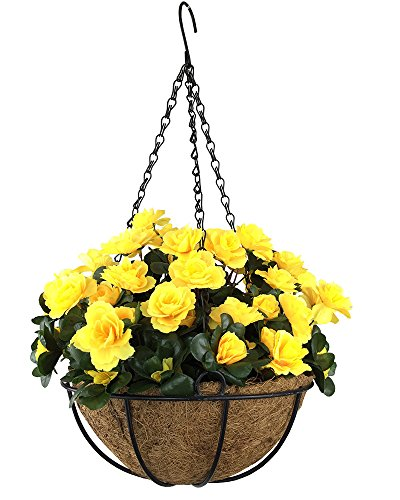 Lopkey Outdoor Artificial Red Azalea Bush Flower Patio Lawn Garden Hanging Basket with Chain Flowerpot,Yellow