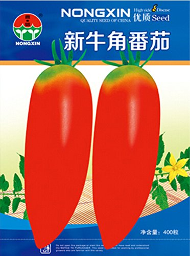 2018 Hot Sale New Rare Green Red Long Tomato 'OX Horn' Organic Seeds, 1 Original Pack, 400 Seeds/Pack, Nice Garden Fruit #NF601
