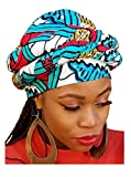 Red, Turquoise African Print Ankara Modu Hat Pre-tied Head wrap