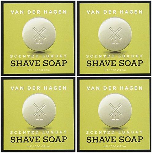 Van Der Hagen Men's Luxury Scented Shave Soap, 3.5 Ounce (Pack of 4)