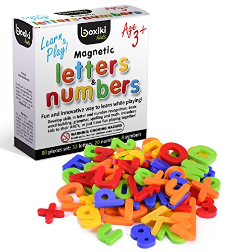 Boxiki kids 80 Piece Magnetic Alphabet Letters and Numbers Set for Kids By Magnetic Letters Numbers and Math Symbols (Number Magnetic Set)