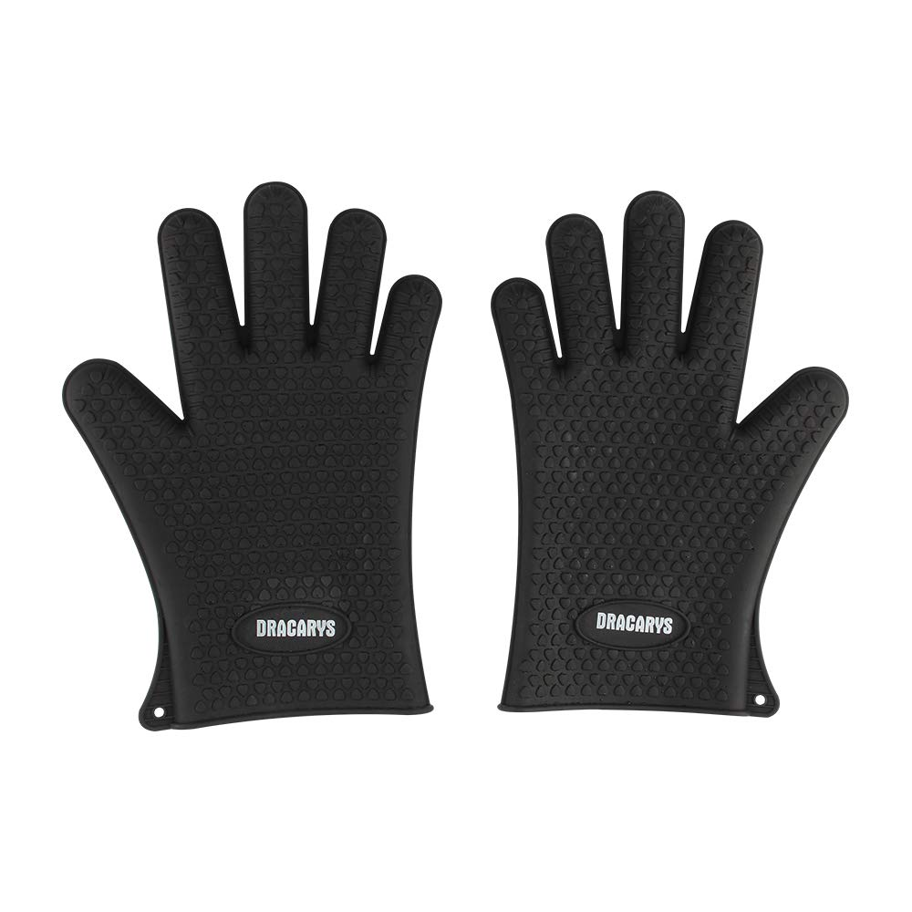 Dracarys Black Silicone Grilling Gloves, Heat Resistant Gloves BBQ Kitchen Silicone Oven Mitts, Long Waterproof Non-Slip Potholder for Barbecue, Cooking, Baking Black
