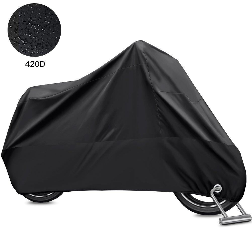 Oyeye Waterproof Motorcycle Cover, 420D Oxford Durable & Tear Proof, 2 Anti-theft Lock-holes Design, Fits up to 104 inch Motors like Harley, Honda, Yamaha, Suzuki and More (XXXL, Black)