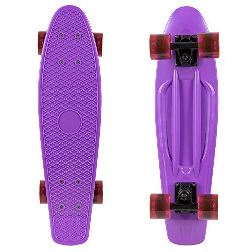 Rekon 22″ Complete Mini Cruiser Plastic Skateboard (Purple, Clear Purple)