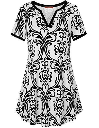 Gaharu Womens Tops, Tunic Tops to Wear with Leggings Henley V Neck Floral Shirts Short Sleeve Curve Hem Tunic T Shirt Tops Black White,Medium