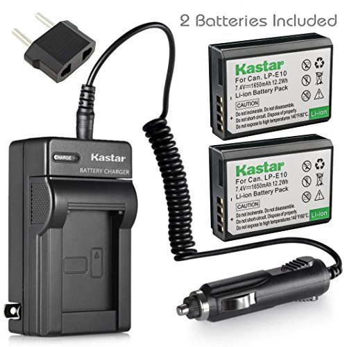 Kastar Battery (2-Pack) and Charger Kit for Canon LP-E10, LC-E10 work with Canon EOS Rebel T5, EOS Rebel T3, EOS Kiss X50, EOS Kiss X70, EOS 1200D, EOS 1100D DSLR Cameras