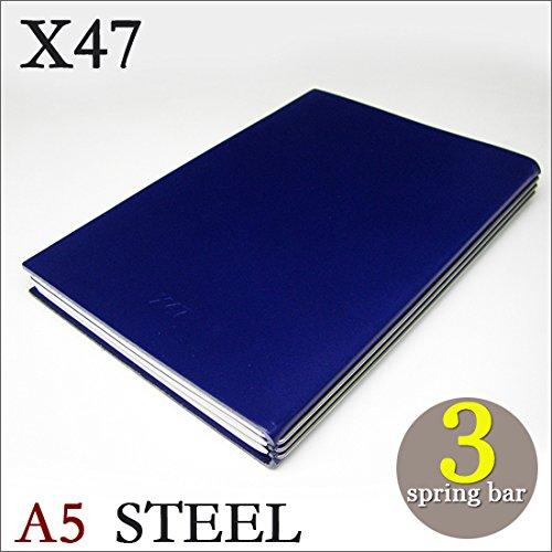 X47 STEEL 本革 A5 ブルー 3本バー ドイツ製 ノートブック 横罫無地方眼 ノートセット   B06XKVH8JM