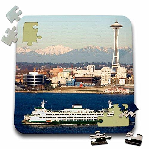 3dRose Danita Delimont - Seattle - WA, Seattle skyline, Elliott Bay, Space Needle - US48 JWI2224 - Jamie and Judy Wild - 10x10 Inch Puzzle (pzl_96188_2)