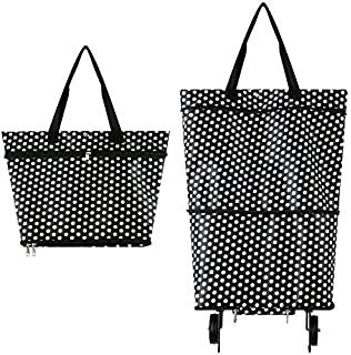 bolsa de gran capacidad #7306 Suny Smiling Bolsa de la compra plegable con ruedas carrito de la compra reutilizable bolsa plegable con ruedas para mujer