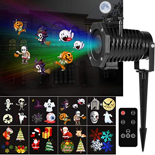 YUNLIGHTS Halloween Lights Projector, 15 Pattern LED Projector Light for Halloween Decoration,Thanksgiving, Christmas, New Year, Easter and Birthday Party Spotlight (Happy Halloween Light)