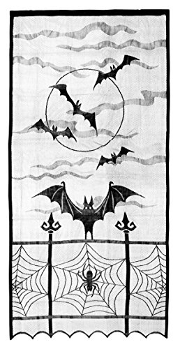 Decorative Polyester Halloween Horror Translucent Bat and Spider Design Lace Window Curtain, (Black Lace Halloween Curtains)