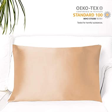 MYK Pure Natural Mulberry Silk Pillowcase, 19 Momme with Both Sides Silk for Hair & Skin, Oeko-TEX, Queen Size, Champagne