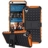 HTC Desire 626 / 626s Case, GreenElec [Tyre Pattern]Hybrid Heavy Duty Dual Layer Shock Proof Rugged Shell Grenade Grip Textured Case, Dual Layer Hard Tyre Textured Cover with Kickstand (Orange)