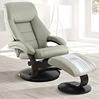 Comfort Chair Company Oslo Collection by Mac Motion Mandal Recliner and Ottoman in Putty Top Grain Leather