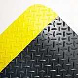 Crown Industrial Deck Plate Anti-Fatigue Mat, Vinyl, 36 x 60, Black/Yellow Border - one floor mat.