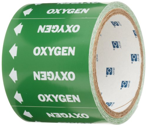 Brady 98844 Medical Gas Pipe Markers-On-A-Roll, White On Green , Legend