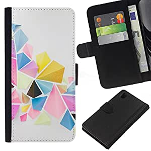 KingStore / Leather Etui en cuir / Sony Xperia Z1 L39 / Acuarela Pastel Tones Resumen