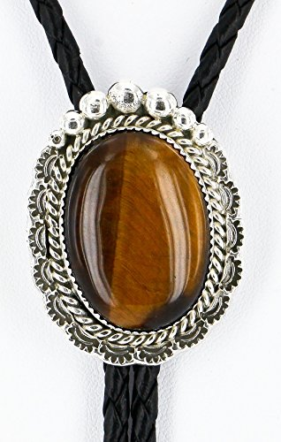$300 Retail Tag Handmade Authentic Silver Navajo Natural Tigers Eye Native American Bolo Tie