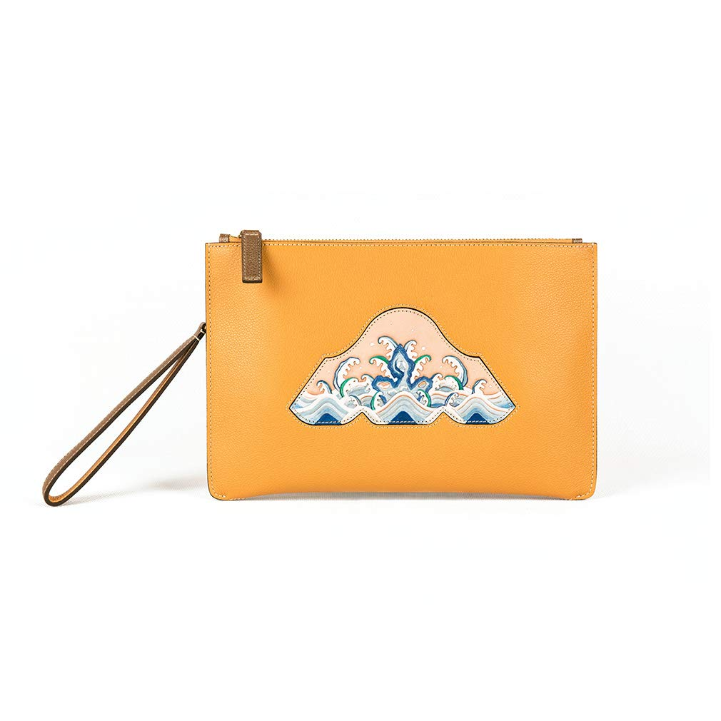 - Palace Museum Women Genuine Leather Wristlet Envelope Clutch Bag Small Handbag with Strap Yellow
