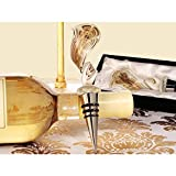 Murano Art Deco Collection Elegant Golden Swirl Wine Stopper - 60 Pieces
